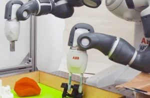 Through robots like Dex-Net which uses deep learning Al let a robotic arm improvise an effective grip for objects, it's never seen before.
