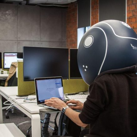 Slip your head into a huge noise-isolating helmet and enjoy your inner calm
