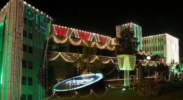 PTCL Head Quarters illuminated on the 69th Independence Day