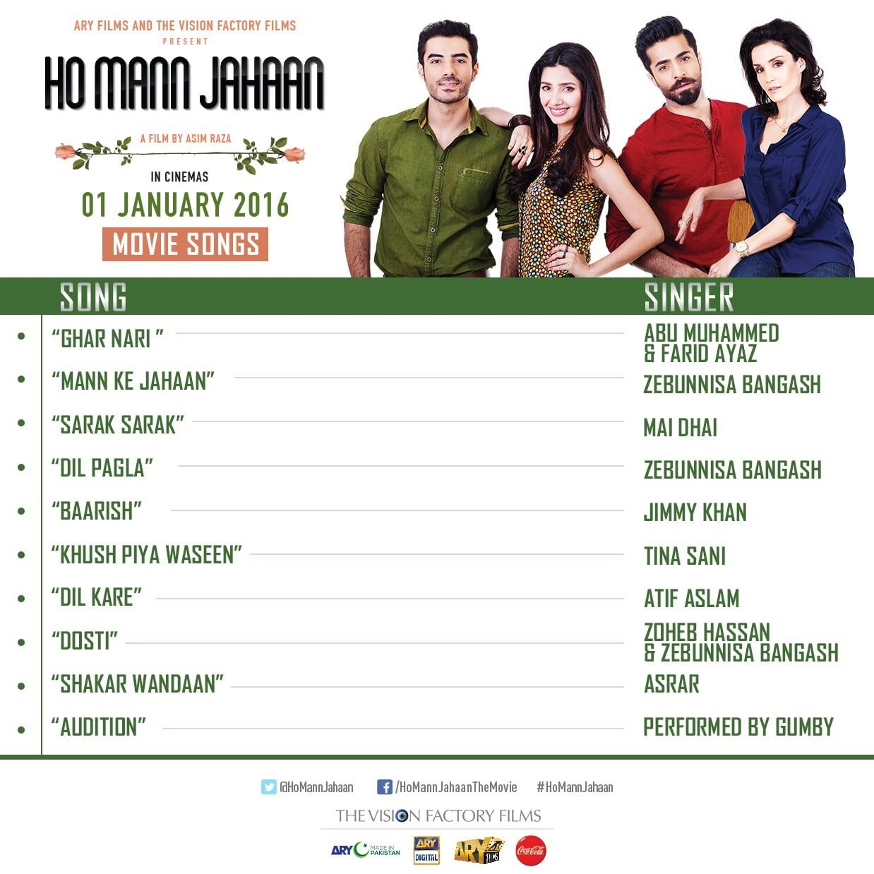 Ho Mann Jahaan film will be releasing nationwide on 1st January 2016