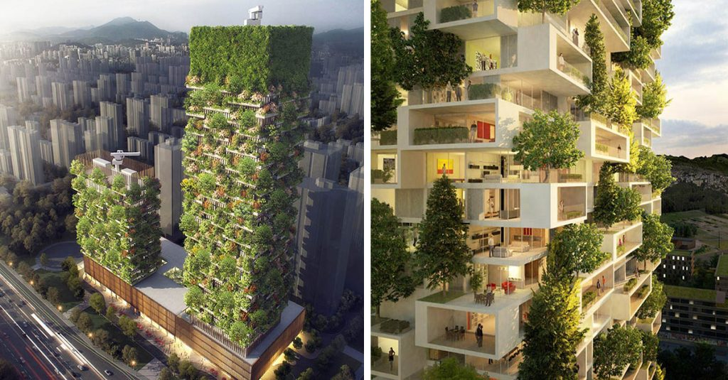 Like Milan and Italy, China is going to build vertical forests to get 60 kg oxygen a day produced by the forest to be built, and 25 tons of CO2 absorbed