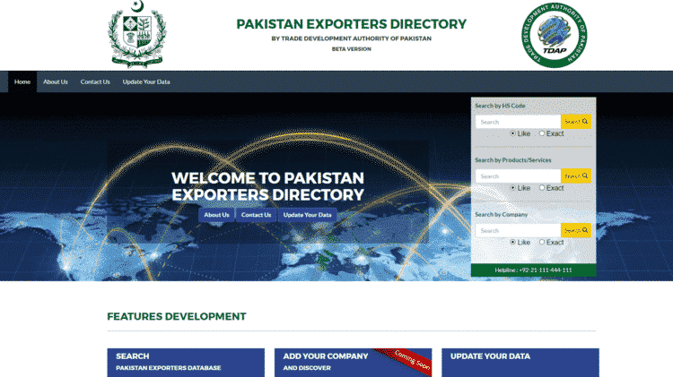 Trade Development Authority of Pakistan (TDAP) develops its first online Pakistan Exporters' Directory. The directory is now available online both on TDAP's website