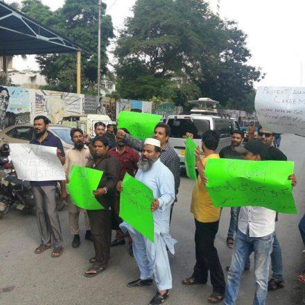 Careem's Vendors protesting against Careem for Justice in Karachi