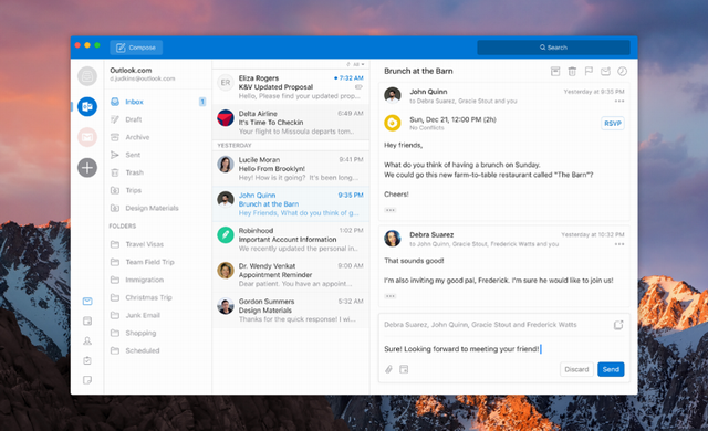 New face of Outlook on Windows and Mac by Microsoft