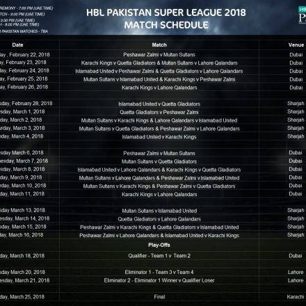 PSL 2018 schedule has announced and first match will be in Dubai on Feb 22