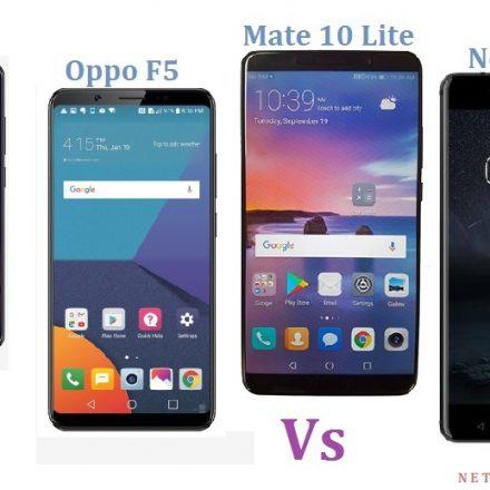 Mate 10 Lite vsOppo F5 vs Nokia 6 vs Vivo V7 – The comparison of premium mid-rangers – Which one will you choose?