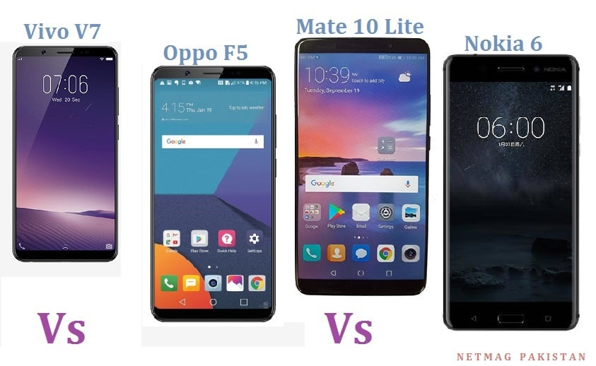 Mate 10 Lite vsOppo F5 vs Nokia 6 vs Vivo V7 – The comparison