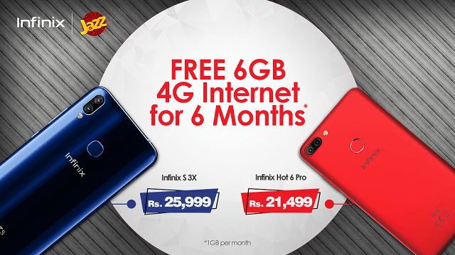 Purchase an Infinix S3X or Hot 6 Pro and Get Jazz 6GB Free Internet Data for 6 Months