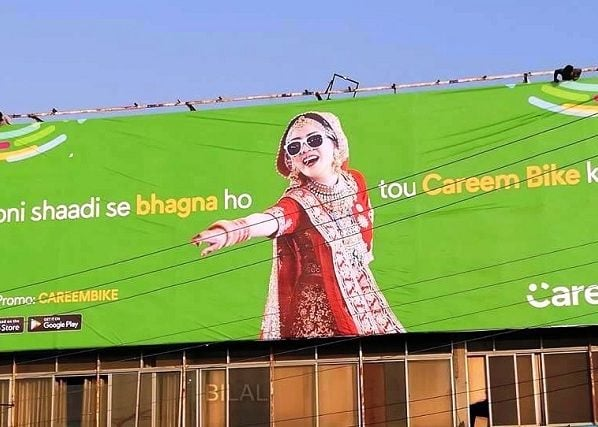 So this Careem Billboard has taken the fight against all people who value morals