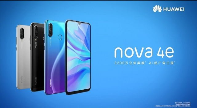Huawei Nova 4e has been revealed by the Chinese Giants