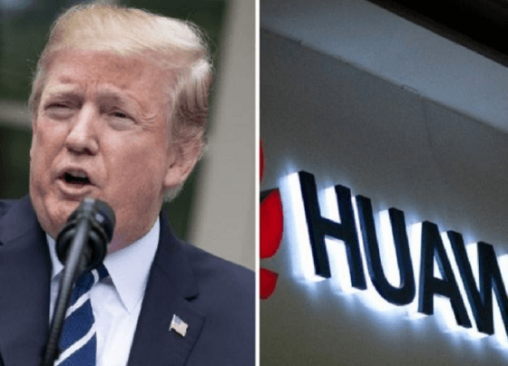 """Trump says : """"We're not going to do business with Huawei."""""""