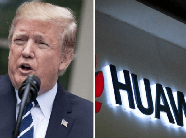 "Trump says : ""We're not going to do business with Huawei."""