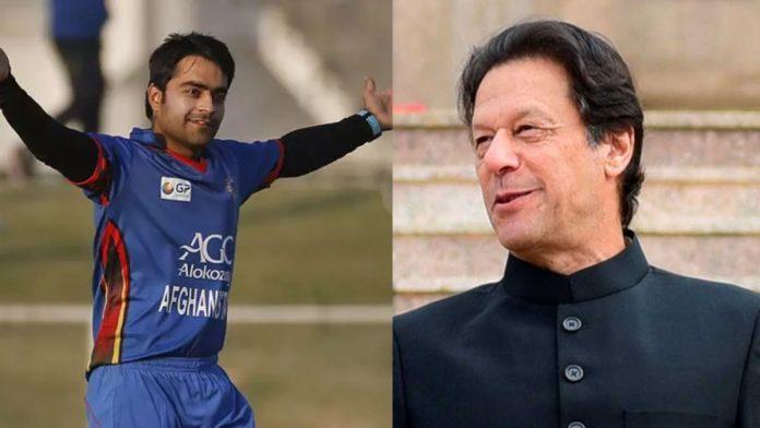 Afghanistan cricketer Rashid Khan with Pakistani Prime Minister Imran Khan