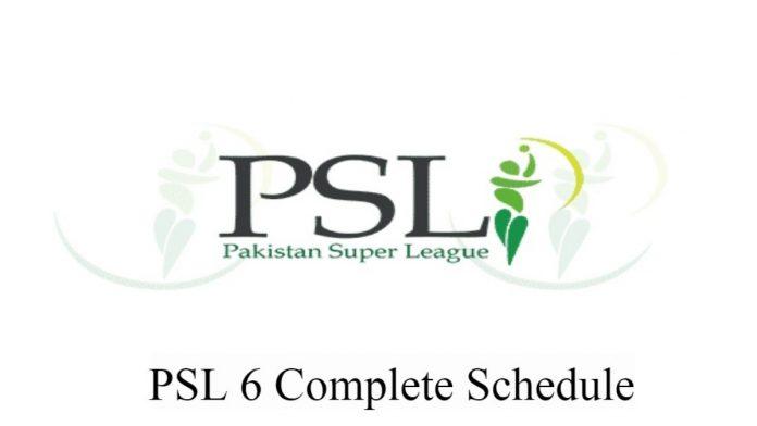 Complete PSL 6 Schedule